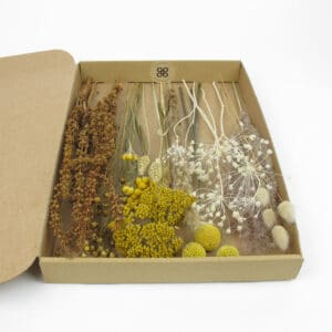 dried flower styling box yellow