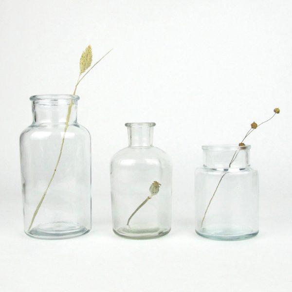 trio clear glass jars