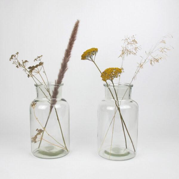 alea bottle clear med dried flowers