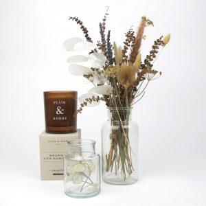 candle jar dried flower bouquet