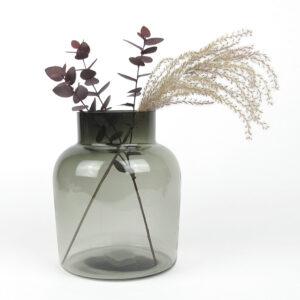smoked vase dried eucalyptus