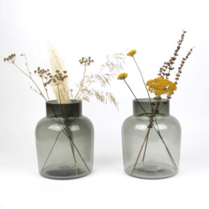 smoked vase medium dried flowers