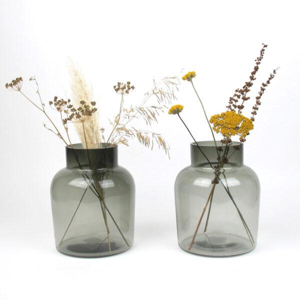 smoked vase medium dried flowers